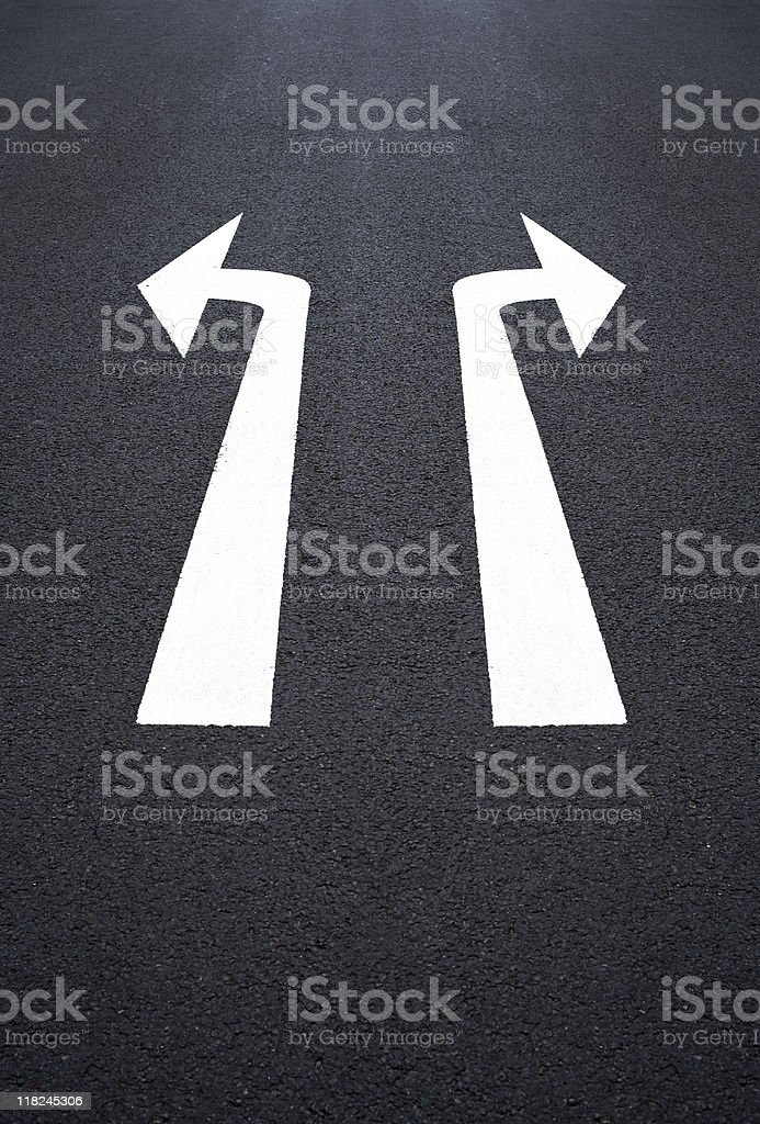Road marking, two arrow signs stock photo
