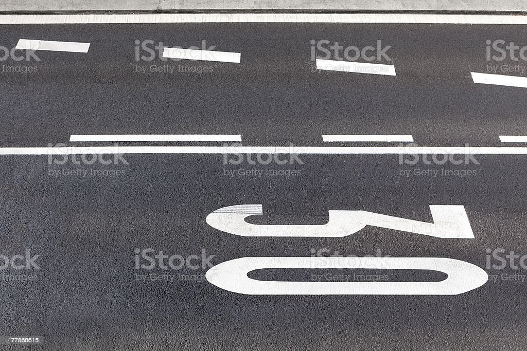 Road marking - view from above stock photo