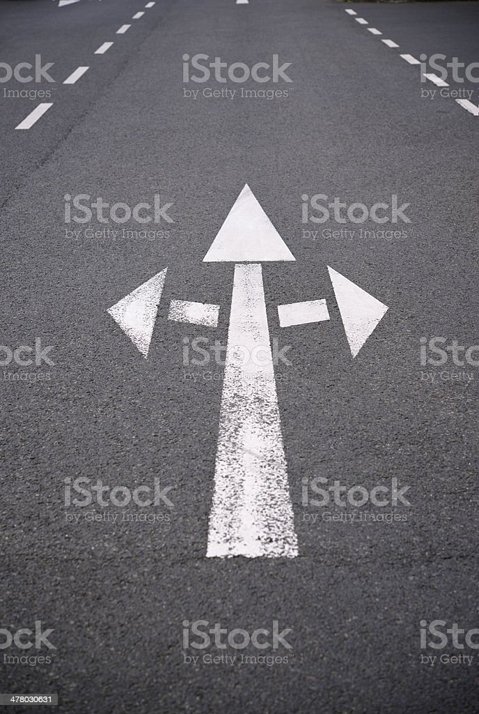 Road marking / white arow sign royalty-free stock photo