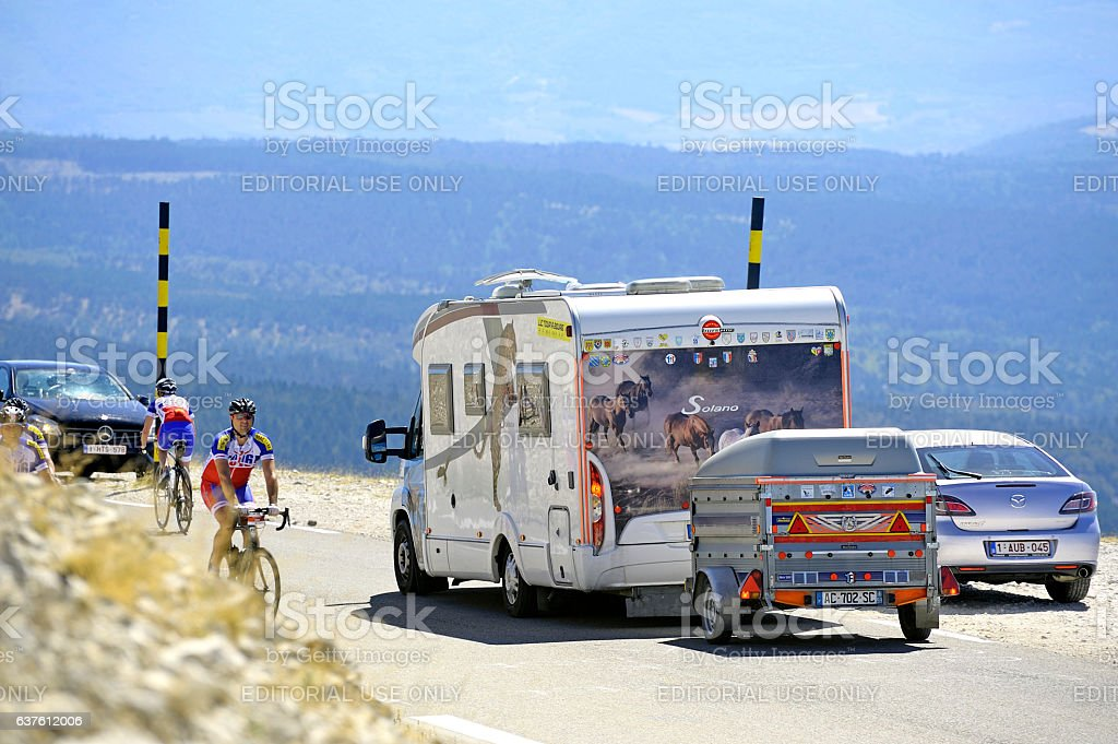 Road Mont Ventoux amount borrowed by many cyclists and cars stock photo