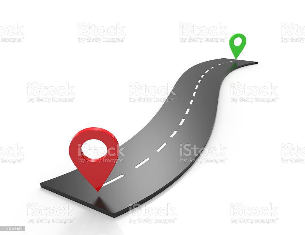 Road navigation with pin pointer stock photo