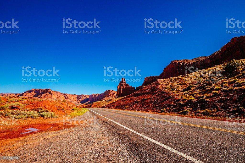Road near Chimney Rock, Capital Reef National Park, Utah, USA stock photo