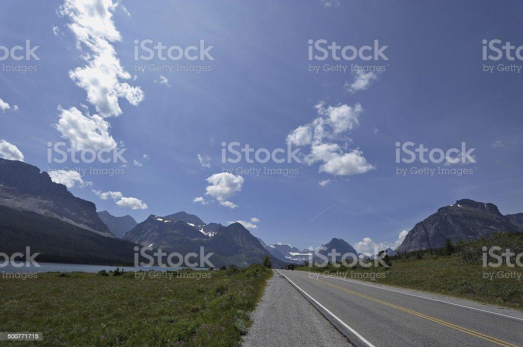 Road next to the Sherburne lake stock photo