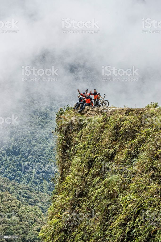 Road of death Bolivia viewpoint stock photo