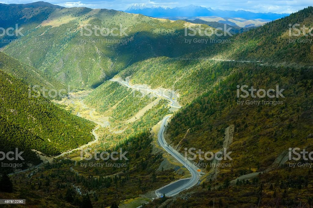 Road of western Sichuan plateau in China 012 stock photo