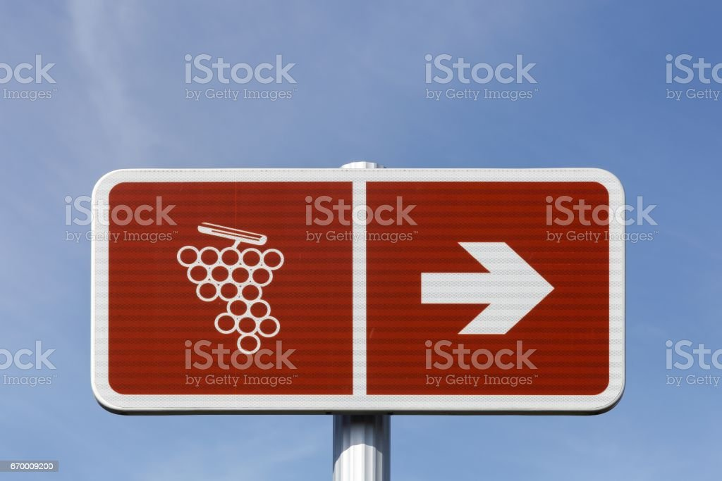 Road of wine sign in France stock photo