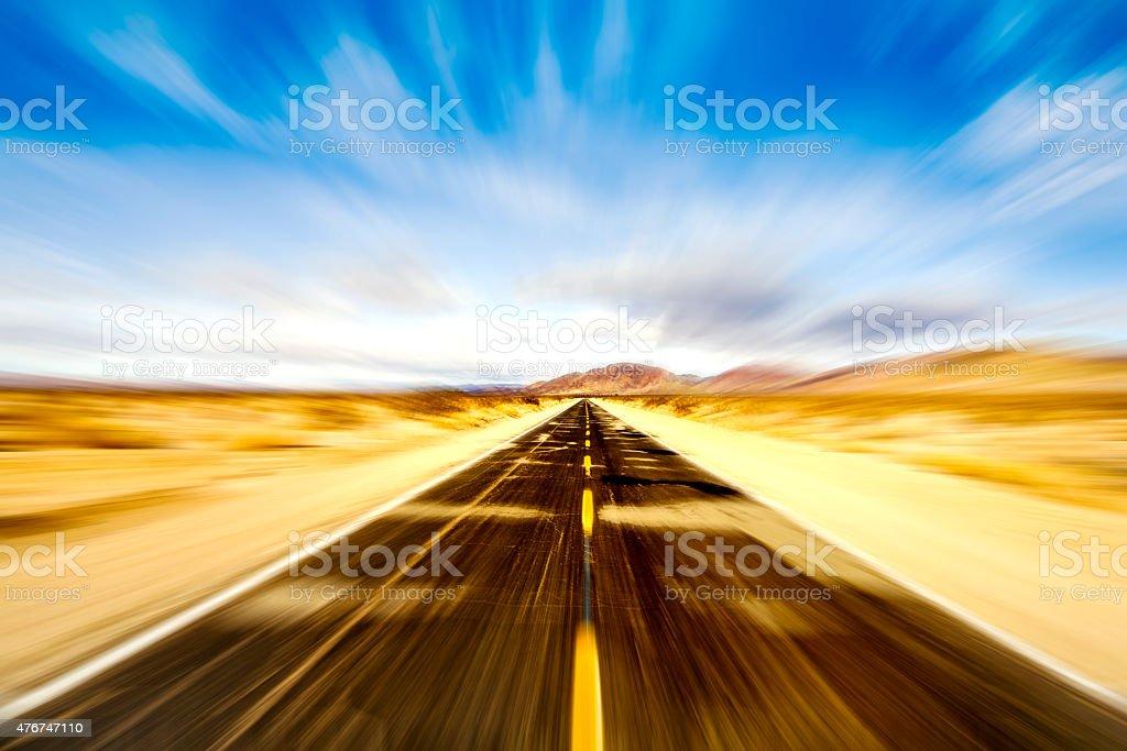 Road on desert stock photo