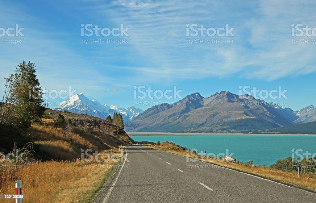 Road on Pukaki Lake stock photo