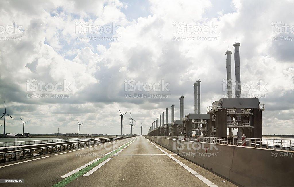 Road on the Eastern Scheldt Barrier stock photo