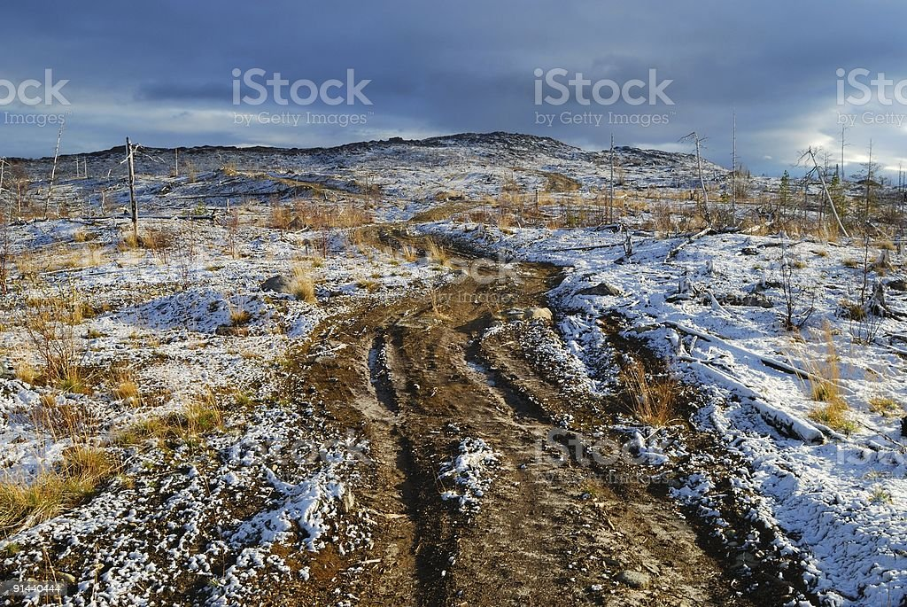 Road on the first snow royalty-free stock photo
