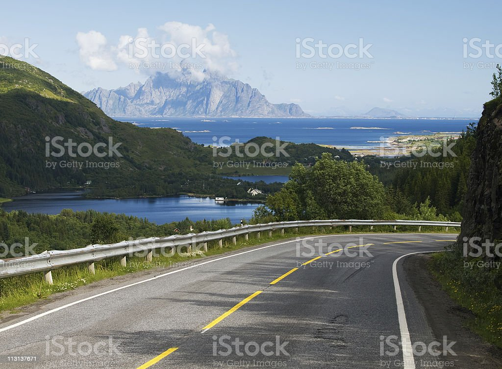 Road on the Lofoten, Norway stock photo