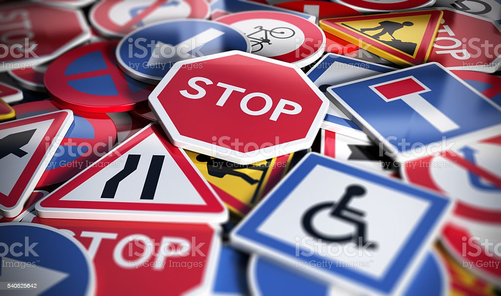 Road or Traffic Signs stock photo
