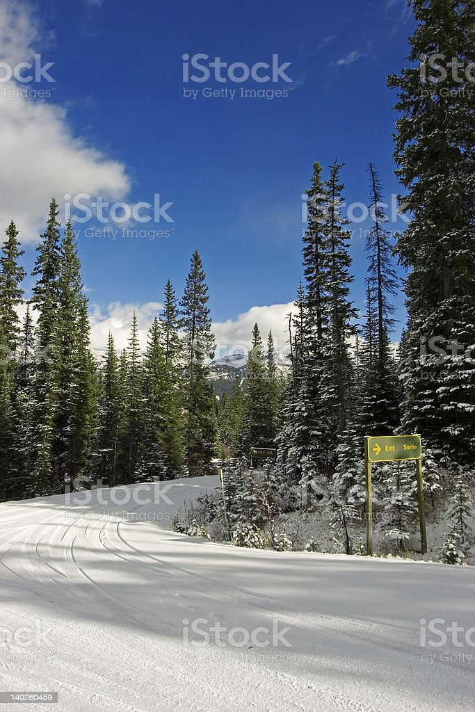road out of lake louise stock photo