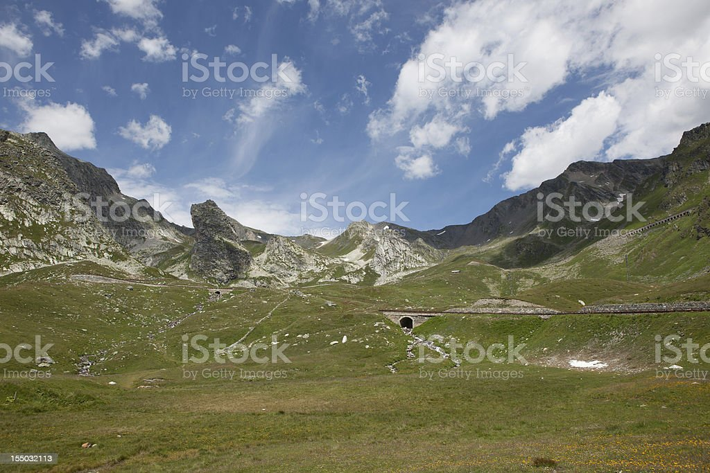 Road over the St. Bernard Pass royalty-free stock photo