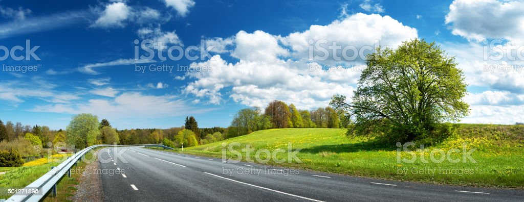 Road panorama on summer evening stock photo