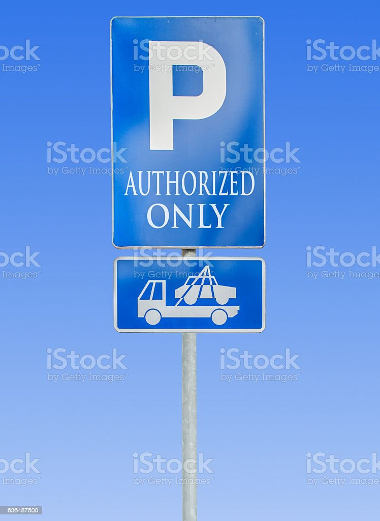 Road parking sign isolated and tow truck sign stock photo