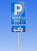 Road parking sign isolated and tow truck sign