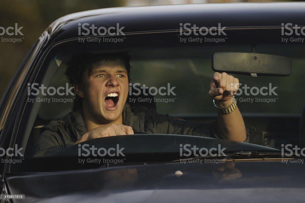 Road Rage in vehicle stock photo