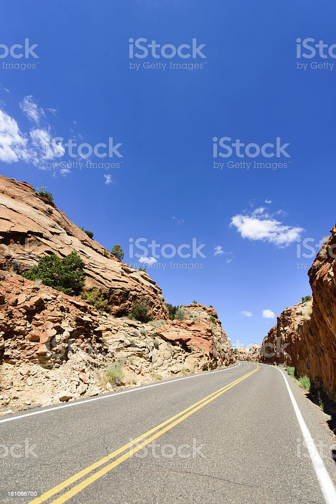 Road - Red Rock Montain, Verticle royalty-free stock photo