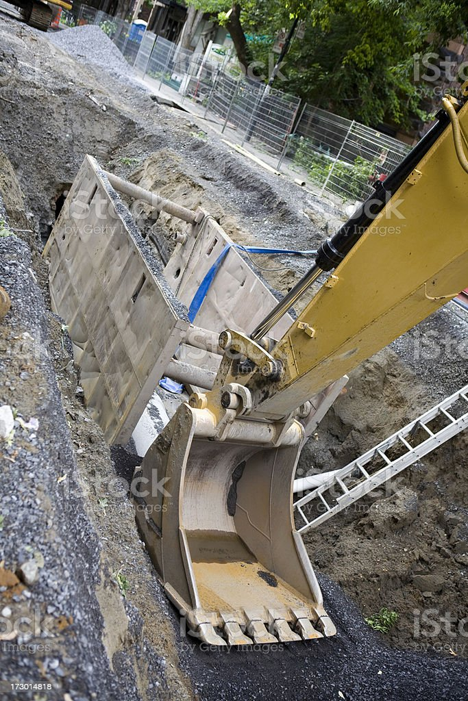 Road repair and sewer line installation royalty-free stock photo