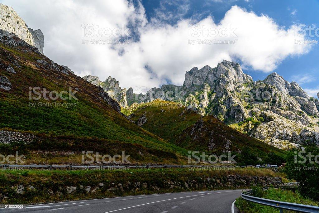 Road rising through a Mountainous stock photo
