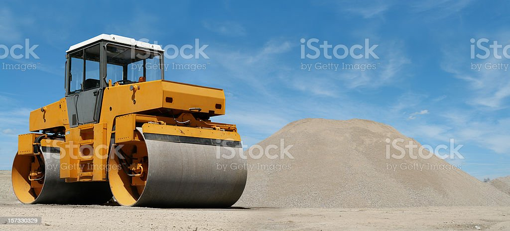 Road Roller at Construction Site stock photo