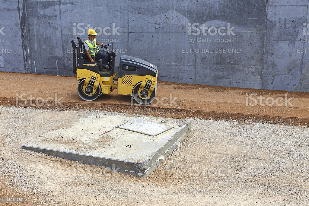 Road Roller at Work royalty-free stock photo