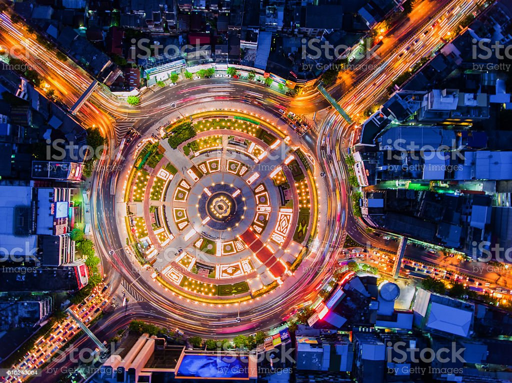 Road roundabout with car lots in Bangkok,Thailand.Beautiful stre stock photo