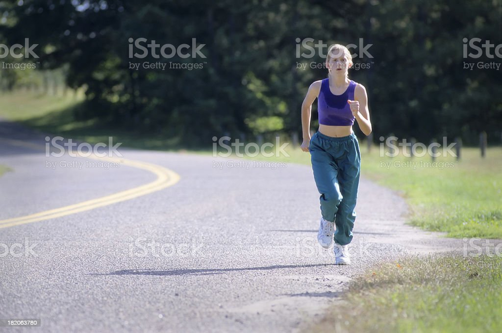 road running girl royalty-free stock photo