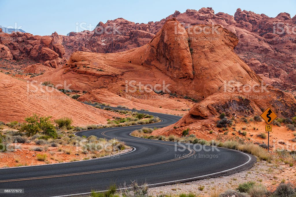 Road runs through the Valley of Fire State Park, Nevada stock photo