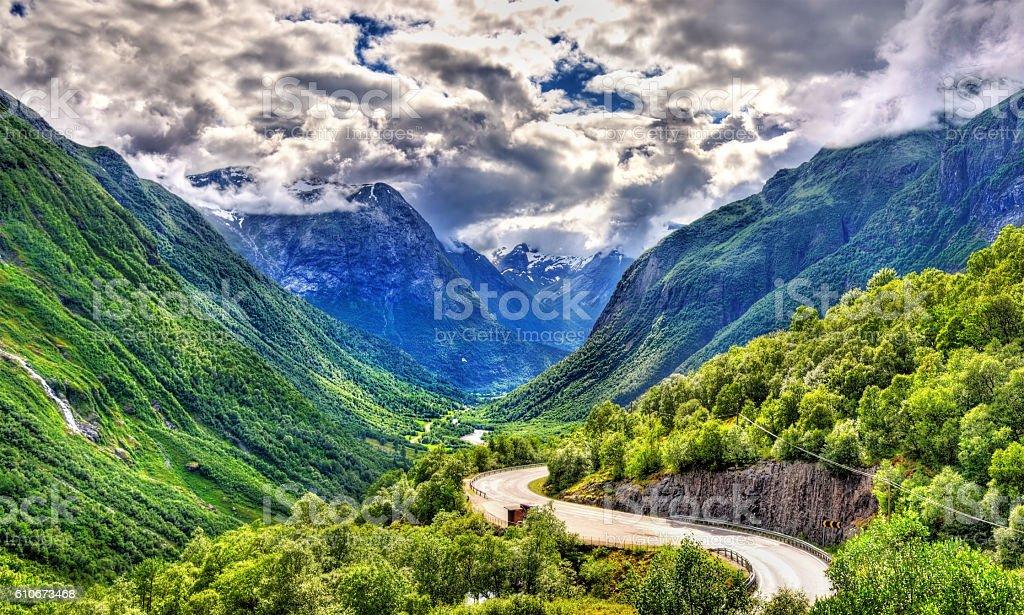 Road Rv15 in Norway near Stryn stock photo