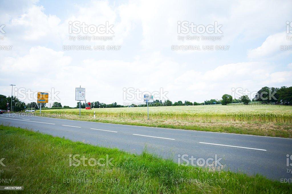 Road Schuir ending on Meisenburg in Essen stock photo