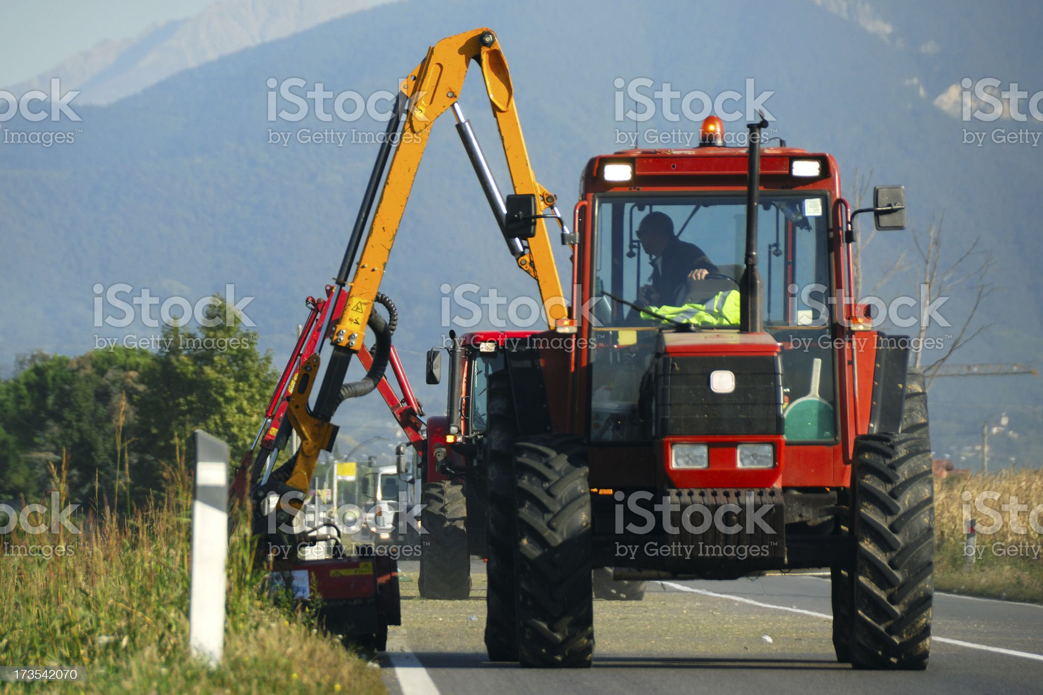 Road side mowing royalty-free stock photo