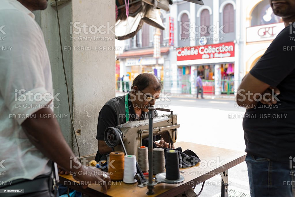 Road Side Tailor at Serangoon Road, Singapore stock photo