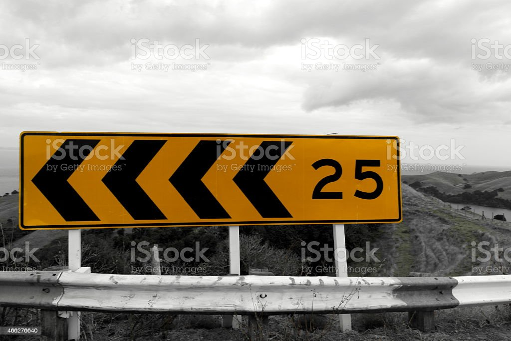 Road sign  25 LEFT stock photo