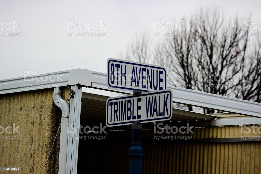 Road Sign - 8th Avenue / Trimble Walk stock photo