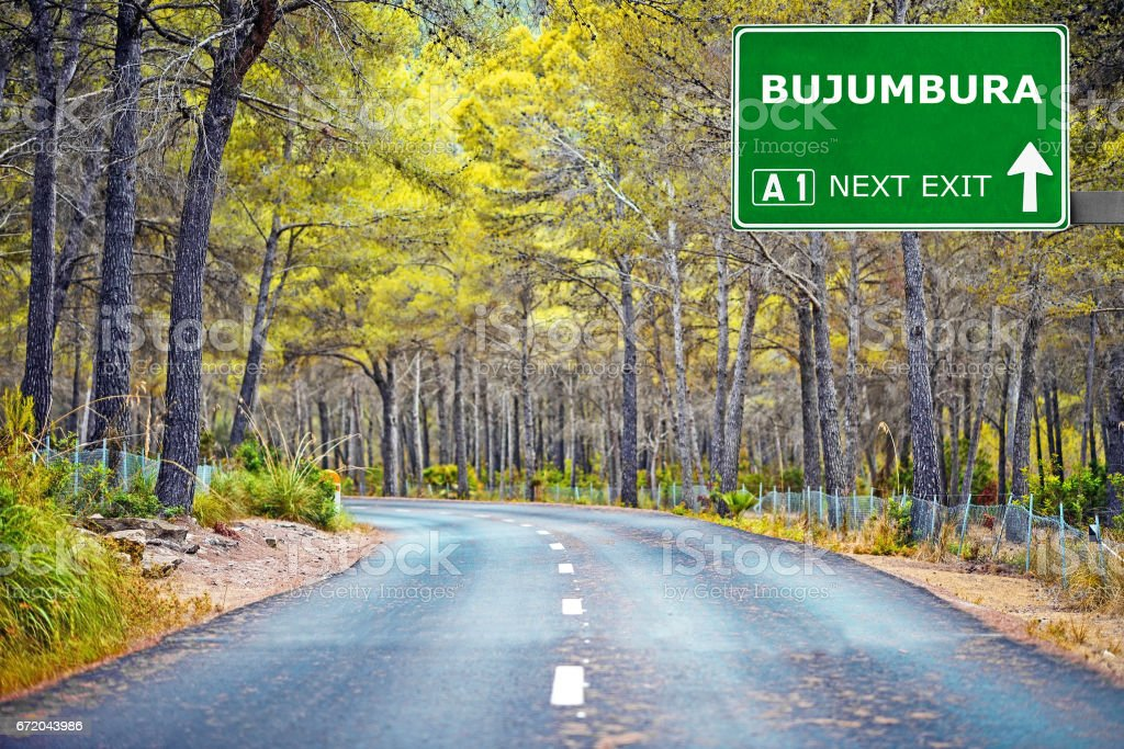 BUJUMBURA road sign against clear blue sky stock photo