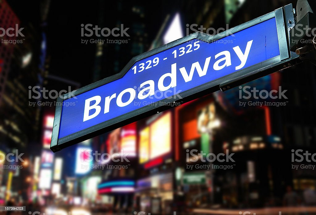 Road Sign and Broadway Avenue Behind royalty-free stock photo
