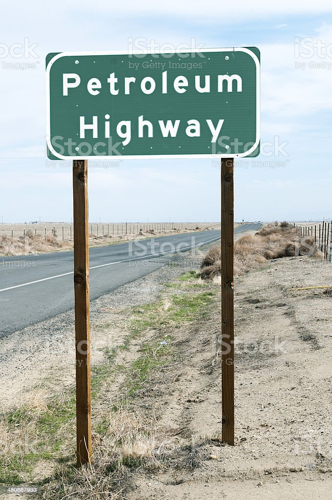 Road sign at northern end of Petroleum Highway in California stock photo