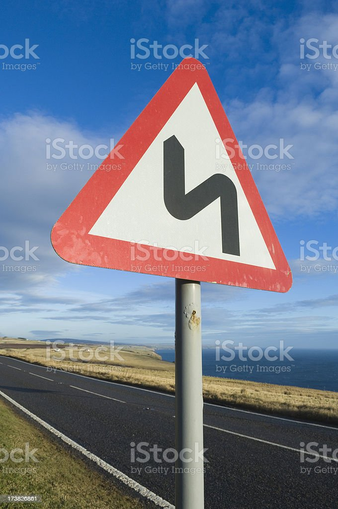 Road sign 'bends ahead' stock photo