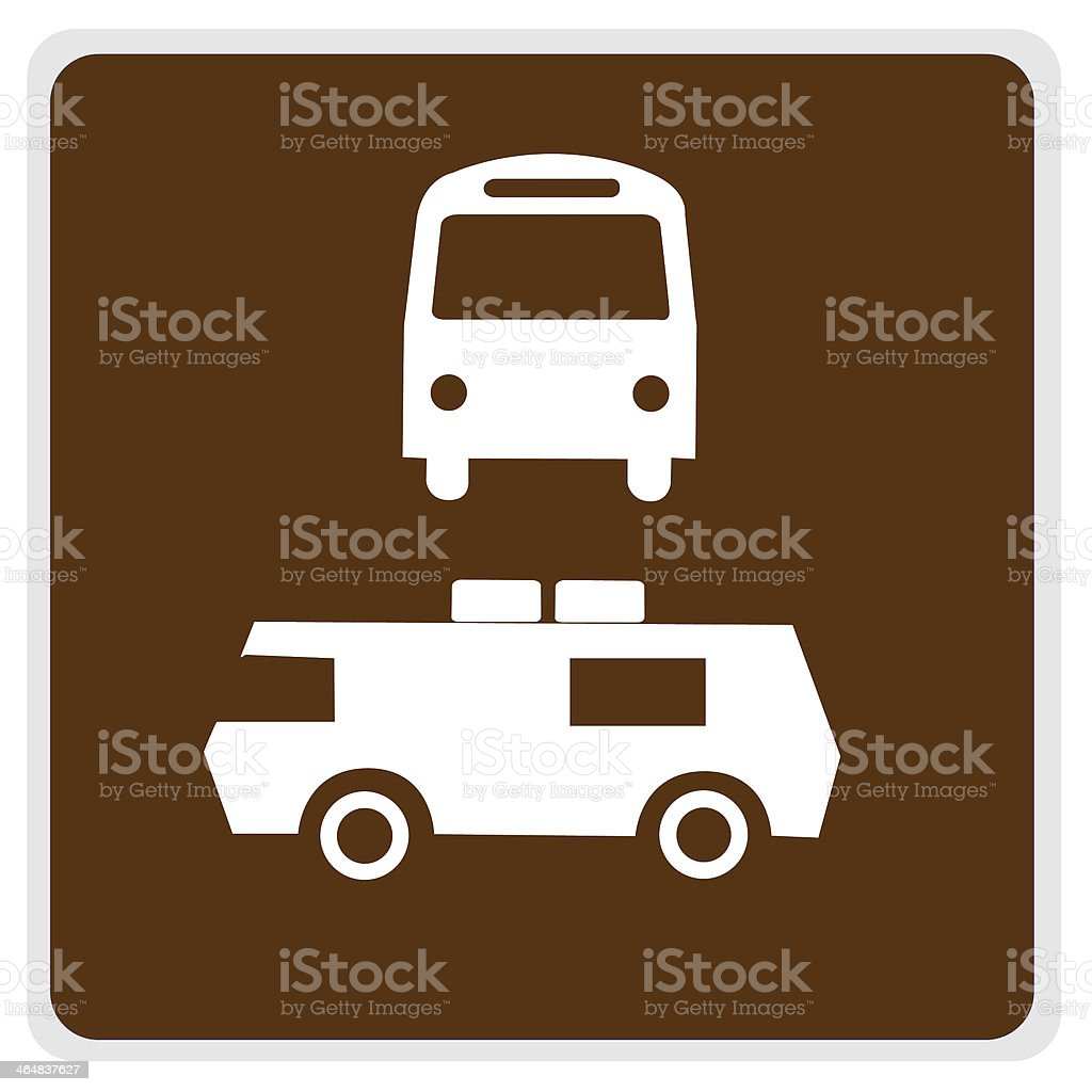 road sign - brown bus camper parking royalty-free stock photo