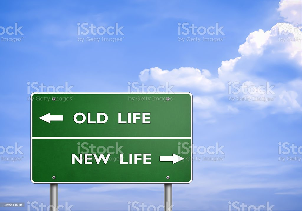 OLD LIFE - NEW LIFE - road sign concept vector art illustration