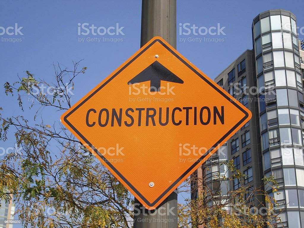 Road Sign - Construction Ahead stock photo