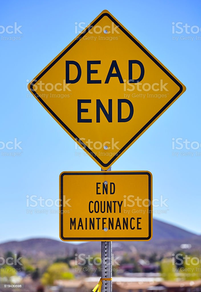 Road Sign Dead End County Maintenance stock photo