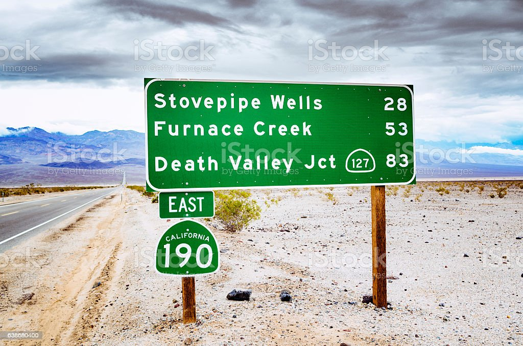 Road sign, Death Valley, California stock photo