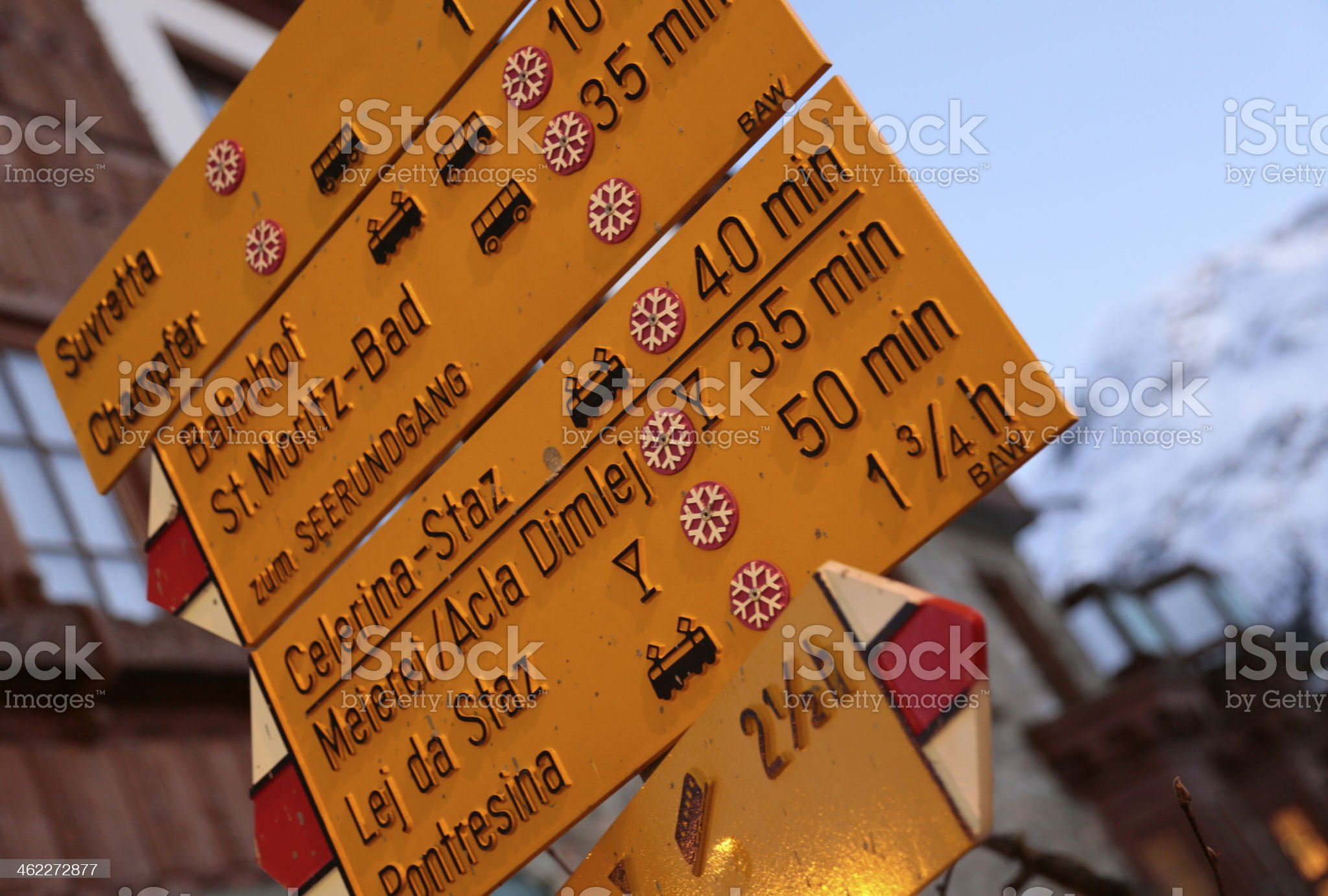 Road sign, downtown St. Moritz, Switzerland royalty-free stock photo