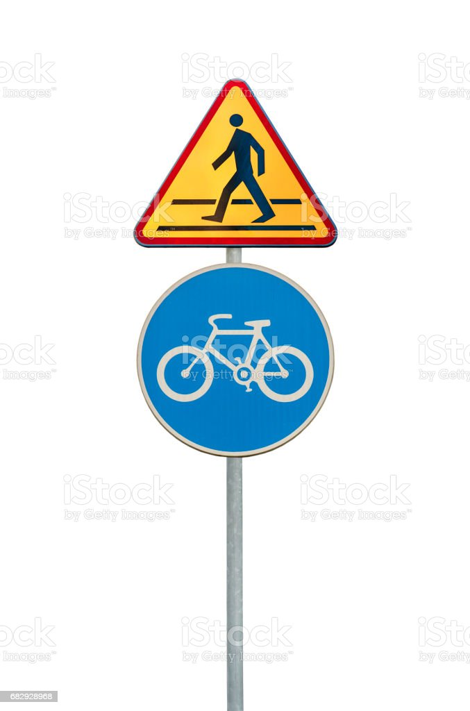 Road sign for a bicycle lane and pedestrian isolated on white stock photo