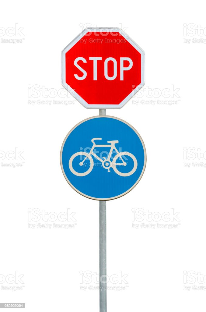 Road sign for a bicycle lane and stop sign isolated on white stock photo