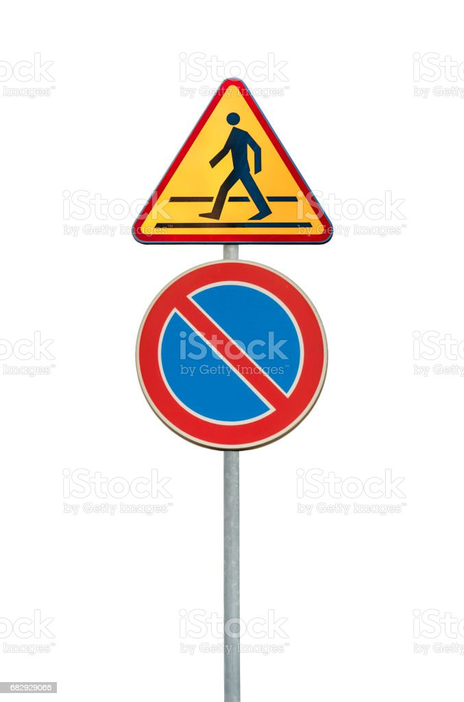 Road sign for a pedestrian and no parking isolated on white stock photo