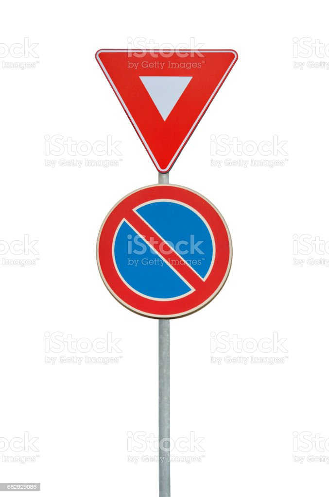 Road sign for a red triangle and no parking isolated on white stock photo